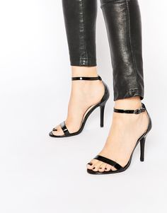 Image 1 of Glamorous Black Patent Two Part Heeled Sandals
