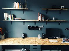 New home office with IKEA drawers and trestle legs. OSB wood from B & Q