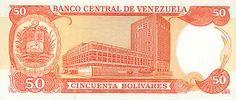 Pieza bbcv50bs-ed03-v8 (Reverso). Billete del Banco Central de Venezuela. 50 Bolívares. Diseño E, Tipo D. Fecha Febrero 05 1998. Serie V8