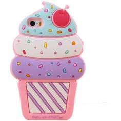 Efreecity Cute 3D Cherry Ice Cream Silicone Soft Case Cover for iPhone... ($8.14) ❤ liked on Polyvore featuring accessories, tech accessories, phones, phone cases, cases, filler and phone covers