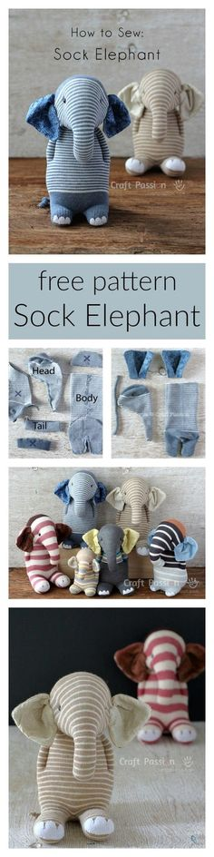 Ella, the sock elephant, free pattern & tutorial, Socken Elefant nähen, Upcycling Sock Crafts, Baby Crafts, Cute Crafts, Fabric Crafts, Creative Crafts, Sewing Toys, Sewing Crafts, Sewing Projects, Sewing Patterns Free