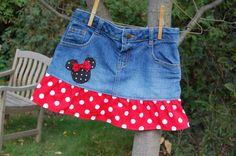 Disney Themed upcycled denim skirt