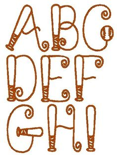 This is a set of 114 individual alphabet files in the Baseball Bat font. Designed for a hoop. You will receive: 26 Upper Case Letter Baseball Font, Baseball Quilt, Baseball Crafts, Baseball Gloves, Embroidery Monogram, Embroidery Applique, Machine Embroidery Designs, Embroidery Patterns, Embroidery Files