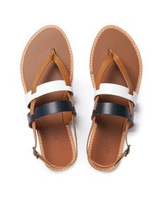 Women's Caddley Sandal in Tan/Navy/White from Crew Clothing