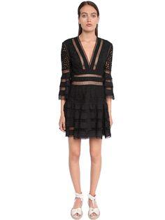ZIMMERMANN San Gallo Poplin & Lace Mini Dress in Black