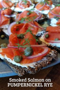 Flavourful Smoked Salmon on Pumpernickel Rye will be a hit at your next party! via Flavourful Smoked Salmon on Pumpernickel Rye will be a hit at your next party! Healthy Appetizers, Appetizer Recipes, Salmon Recipes, Seafood Recipes, Lox Recipe, Smoked Salmon Appetizer, Appetizer Sandwiches, Brunch Recipes, Easy Recipes