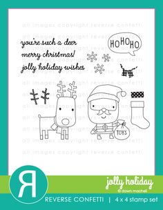 """Ho Ho Ho…It's Santa and his """"deer"""" pal just waiting for you to ink them up for your holiday cards and tags! In addition to these cuties, this set includes a stocking with separate polka dot detail, polka dot antler and scarf details, 4 sentiments and snowflakes. Coordinating Confetti Cuts die set sold separately."""