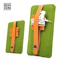 For iPhone 6S Wool Felt Case Green Color iPhone 6S Sleeve With Leather Earphone Headphone Organizer Fashion iPhone 6S Cover