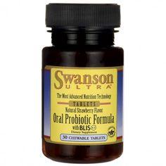 Unieke probiotica formula van Swanson! De kauwtabletten bevatten maar liefst 3 miljard levensvatbare organismen.  3 miljard levensvatbare organismen Met BLIS K12 Natuurlijk aardbeien aroma Eenmaal daags een tablet 30 kauwtabletten per verpakking