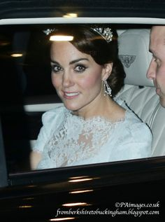 fromberkshiretobuckingham: Diplomatic Reception, Buckingham Palace, December 8, 2015-Duke and Duchess of Cambridge; a good look at the bespoke Alexander McQueen lacy light blue gown worn by the Duchess along with the Cambridge Lover's Knot Tiara and antique earrings owned by the Queen