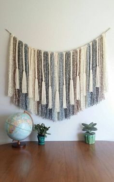Yarn wall hanging. Large. Bohemian modern cozy. by UpTheWallflower