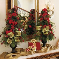 Christmas arrangment for a sideboard table