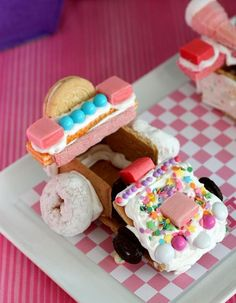 CUTE dessert cars at a Wreck-It Ralph Party via Kara's Party Ideas!