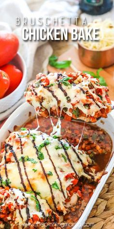 Bruschetta Chicken Bake (The Pinning Mama) Brushetta Chicken, Bruschetta Chicken Pasta, Low Carb Recipes, Cooking Recipes, Healthy Recipes, Epicurious Recipes, Healthy Food, Healthy Eating, Baked Chicken