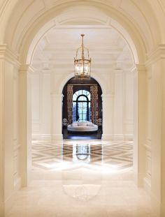 Warm marble foyer.