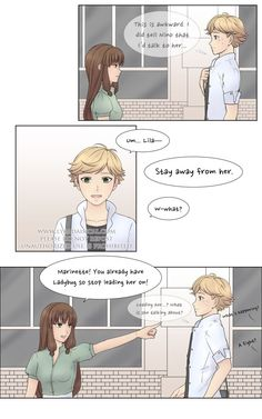 """She's Mine was my first """"long"""" fan comic for Miraculous and it was inspired by a chapter of Horimiya in which Miyamura and an underclassman fight over Hori, as well as a few posts… Meraculous Ladybug, Ladybug Comics, Ladybug Cartoon, Miraculous Ladybug Kiss, Felix Miraculous, Ladybugs Movie, Romantic Manga, Cat Noir, Cute Disney Wallpaper"""