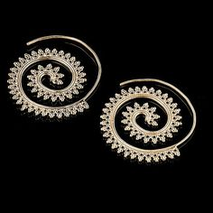 4033c38ab2b Items similar to Tribal Brass Circles Round Spiral Hoop Earrings