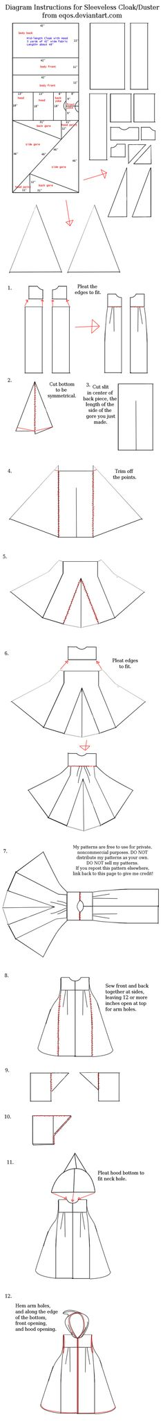 Diagram For Sleeveless Cloak/Duster by eqos.deviantart.com on @deviantART