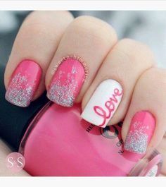 Pink - White - Silver shimmer - LOVE - Nail design