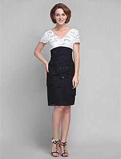 Sheath/Column V-neck Knee-length Lace Mother of the Bride Dr... – USD $ 149.99