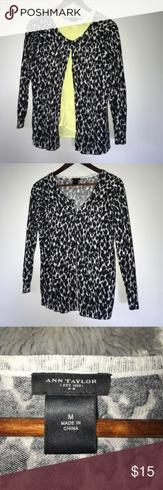 Ann Taylor Leopard Cardigan Wonderful condition. Has been worn numerous times, but that hardly affected the quality of this cardigan. Ann Taylor Sweaters Cardigans