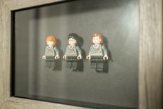 These hand-made frames feature three Harry Potter minifigures, Harry Potter, Ron Weasley & Hermione Granger made from LEGO® mounted in a relief