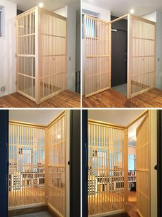 Would be great wall divider Cat Gate, Cat Fence, Condo Design, House Design, Animal Room, Cat Enclosure, Dog Rooms, Cat Room, Pet Furniture