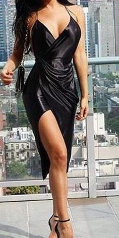 Black Satin Wrap Bodycon Dress
