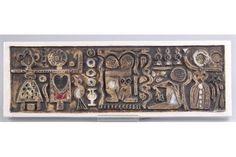 A rare Troika, St Ives Love Plaque moulded with three couples on a black wash ground with pools