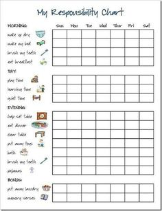 Preschool C Charts With Pictures Responsibility Chart Items Juxtapost