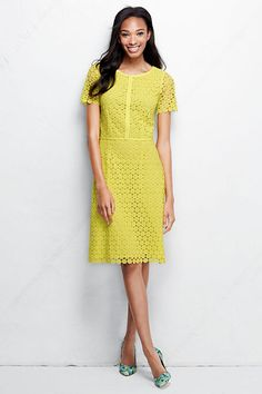 Women's Short Sleeve Lace Sheath Dress from Lands' End