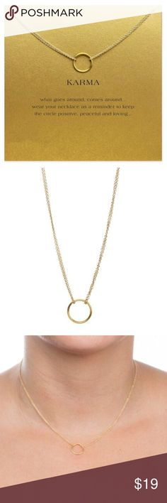 """PERFECT GIFT 💜 Karma Double Chain Circle Necklace This Golden Threads Karma gold necklace on a delicate chain also includes a lovely gold card for you or your friend with the the printed saying; """"What goes around, comes around... wear your necklace as a reminder to keep the circle positive, peaceful and loving..."""". The necklace has a 10"""" with a 2.5"""" extender for the perfect fit. Golden Threads Jewelry Necklaces"""