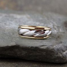 Men's Wedding Band - 10K White and Yellow Gold