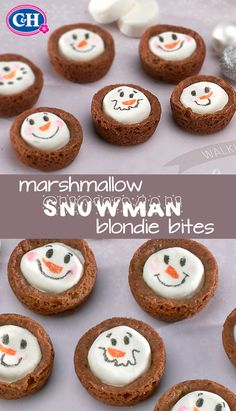 Kids will love these marshmallow-filled snowman blondie bites – they're perfect for a class holiday party or winter bake sale! Kids will love these marshmallow-filled snowman blondie bites – they're perfect for a class holiday party or winter bake sale! Christmas Snacks, Christmas Cooking, Holiday Treats, Holiday Recipes, Winter Treats, Christmas Candy, Christmas Recipes, Christmas Decor, Christmas Ideas