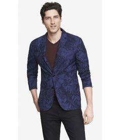 1aab376b76 Express Lightweight Hawiian Floral Print Blazer Suit Jacket Navy Blue Mens  XS  Express  TwoButton
