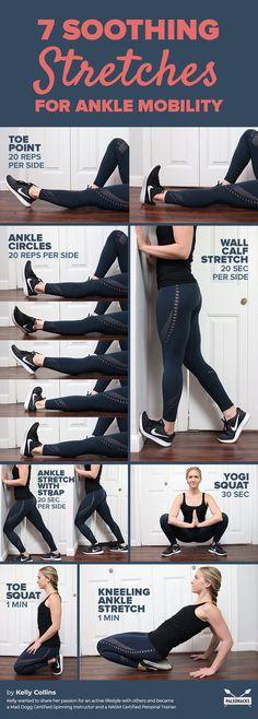 ankle flexibility exercises ankle dorsiflexion ankle rotation exercises ankle stretches for running towel stretch ankle ankle stretches yoga exercises for ankle pain how to stretch ankle ligaments Ankle Strengthening Exercises, Ankle Stretches, Ankle Mobility Exercises, Ankle Rehab Exercises, Stretches For Runners, Flexibility Stretches, Stretching Exercises, Strengthen Ankles, Health Fitness