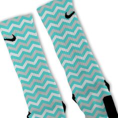 Chevron Tiffany Blue Customized Nike Elite Socks on www.FreshElites.com