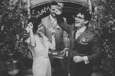 fistpumping bride and groom! photo by Ryan & Heidi Studios http://ruffledblog.com/intimate-west-village-wedding #ceremony #brideandgroom #wedding