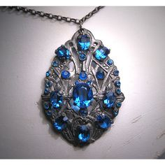 Antique Sapphire Paste Necklace Victorian Art Deco 1920 ($295) ❤ liked on Polyvore featuring jewelry, necklaces, antique victorian necklaces, victorian jewellery, victorian jewelry, art deco jewelry and sapphire jewelry