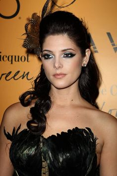 Ashley Greene is a beauty, but in this Halloween costume she was a Peacock. Her makeup is per-fect! Her hair is okay, but her makeup was definitely something.