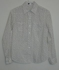 $29.95 OBO j. crew floral print long sleeve button down shirt size: xs #freeshipping