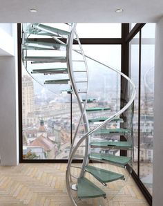 A Collection Of Amazing Staircase Design Ideas : Unique Spiral Staircase Design Inspiration with Stainless Steel Railing and Glass Steps