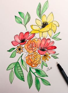 Vibrant Flowers Watercolor Painting