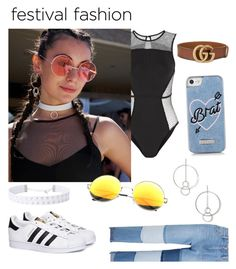 """""""Festival fashion"""" by vivistyle21 ❤ liked on Polyvore featuring Koral, SW Global, Topshop, Steve J & Yoni P, adidas, Skinnydip and Gucci"""