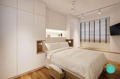 Bedroom interior design ideas for small areas to fit wardrobe, bay windows, storage bed, television, and platform floors.