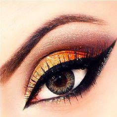 Yellow, orange and red eye makeup #vibrant #smokey #bold #eye #makeup #eyes