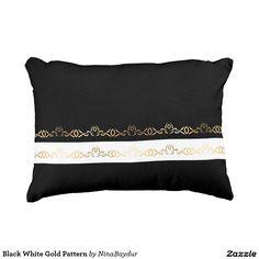 #Black #White #Gold Pattern Accent #Pillow #elegant #decorativestrip #blackandwhite ninabaydur