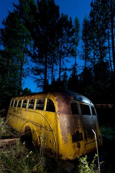 This is where owls go to school now.      Traffic on US HWY 395 zooms by this abandoned school bus in the Umatilla National Forest.