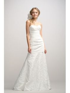 Sheath Sweetheart Puddle Train Floral Brocade Bridal Gown