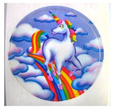 Lisa Frank Rainbow Maned Unicorn in the Clouds Sticker